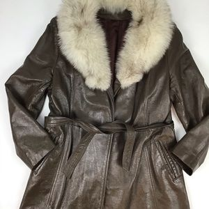 Vintage women's leather and fur belted coat.